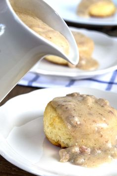 Get this tested recipe for gluten free biscuits and gravy. Light and flaky gluten free biscuits with rich sausage gravy.