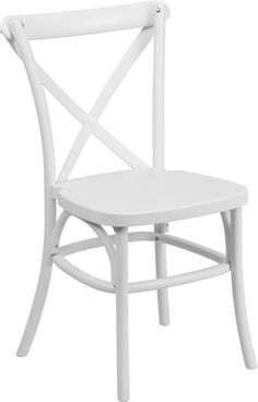 HERCULES Series White Resin Indoor-Outdoor Cross Back Chair with Steel Inner Leg. Create a charming and inviting ambiance in your living or restaurant space with this stylish chair. The designer cross back adds a modern, yet classic appeal to conform in different settings. The chair features a solid color throughout the frame giving you long lasting color without the need to repaint. The inner legs feature metal tubing that adds strength to the overall chair. Chairs are lightweight and…