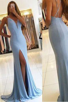 Blue Evening Dress, Prom Dresses 2019, Sleeveless Prom Dresses, Prom Dresses Long, Prom Dresses Mermaid #PromDresses2019 #BlueEveningDress #PromDressesMermaid #SleevelessPromDresses #PromDressesLong