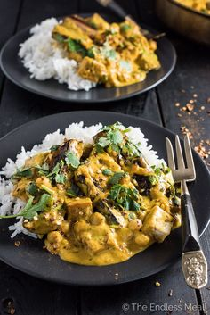 This Chickpea, Tofu, and Eggplant Curry is an easy to make and delicious weeknight dinner recipe. It's naturally vegan + gluten-free and made super creamy with coconut milk. | theendlessmeal.com