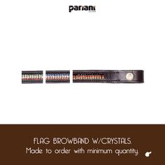 Flag browband w/crystals. Made to order with minimum quantity.  #lovepariani