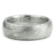 Damascus Stainless Steel Mens Wedding Band Domed with Flowing Pattern Like Water Waves Wind Clouds. Intricate Sophisticated and Handmade Art on Etsy, $579.00