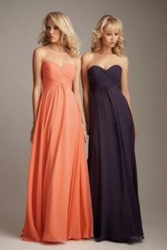Fancy sweetheart strapless A-line sleeveless pleated empire floor Bridesmaid Dress BD249014