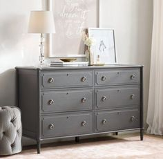 RH TEEN's Sören Wide Dresser:Based on a Swedish antique, our collection epitomizes the refined aesthetic of the Gustavian period with its rounded corners, fluted side posts and gently tapered legs.