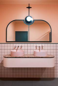 pink bathroom with pink terrazzo countertop Bathroom Interior Design, Decor Interior Design, Interior Decorating, Bathroom Designs, Decorating Ideas, Bathroom Trends, Bathroom Ideas, Bathroom Remodeling, Decorating Websites
