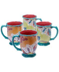 Tracy Porter Scotch Moss Set of 4 Mugs - Casual Dining - Kitchen - Macy's