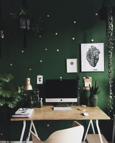 Green wall and wood desk // work space// home office The Best of home design ideas in 2017.