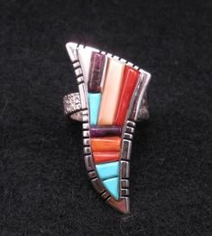 David Tune Navajo/Creek Multigem Inlay Silver Ring sz7-sz8-1/2