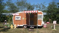 Trailer painting ideas for a second rig?? A Gingerbread trailer-how cute!!!! from Thrift Shop Commando