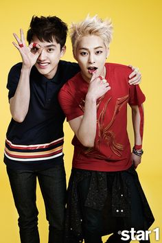 EXO's D.O. and Xiu Min @Star1 Korea Magazine Vol.27 June 2014. My two favorite people look so gorgeous together .