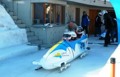Setting off on Olympic Bobsleigh Run, St Moritz   #winter #sport #switzerland