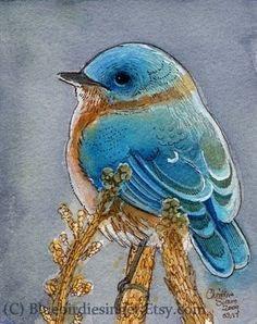 Bluebird Watercolor print 5x7 by BluebirdieBootique on Etsy, $10.00