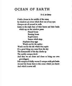 Ocean of Earth Guillaume Apollinaire