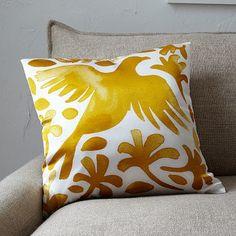 Paulina Reyes Silk Bird Pillow Cover - Yellow #WestElm