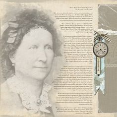 digital heritage layout with in-depth genealogical journaling... love the faded photo ... beautiful blending