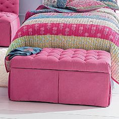 Tufted Bench - contemporary - toy storage - The Company Store girl room, baby blanket/quilt storage