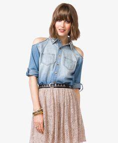 Bejeweled Cutout Shirt #Forever21 #DenimDaze #Bejeweled #Cutout #Shirt