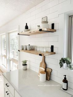 kitchen open shelving - a step by step guide detailing how to create wood shelve. kitchen open shelving - a step by step guide detailing how to create wood shelves with metal brackets Home Decor Kitchen, Home Kitchens, Kitchen Ideas, Kitchen Modern, Small Kitchens, Rustic Kitchen, Eclectic Kitchen, Kitchen Small, Kitchen Furniture