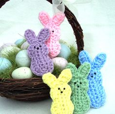 5 Bunnies. Crocheted 5 different colors. Marshmallow by 2Good2Eat