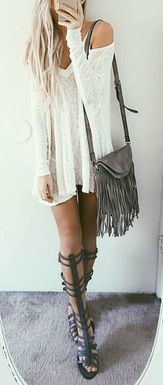 #lovelulus. casual. white dress. long sleeve dress. neutrals. grey. tan. brown and white. gladiator sandals. knee sandals. summer fashion. spring fashion. casual. concert . festival outfit. 2016. style. trends. boho. rustic. fringe bag. fringed. blonde hair. long hair. beach outfit. date. shopping. casual.