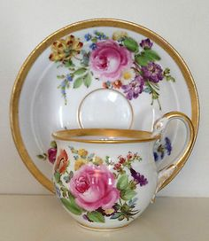 RARE 19th C Meissen Porcelain Gold Gilded Rose Cup Saucer with Swan Handle