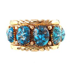 Alvina Quam Bracelet 14k Gold Overlay on Silver with Bisbee Turquoise  gorgeous. and expensive. and historical.