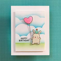 Card Share: Making Puffy Clouds (after watching my guru) - CZ Design Panda Birthday, Happy Birthday, Card Making Inspiration, Making Ideas, Cloud Stencil, Mama Elephant Stamps, Cute Birthday Cards, Elephant Party, Homemade Greeting Cards