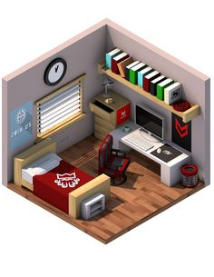 "Isometric Bedroom - ""A Designers Room"" on Behance"