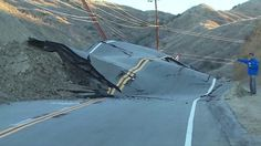 Massive land movement wipes out Vasquez Canyon Road in Los Angeles.