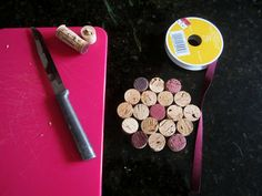 DIY wine cork coasters.