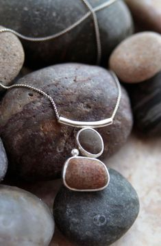 Sterling Silver Beach Stone Pendant by KMallaby on Etsy, $165.00