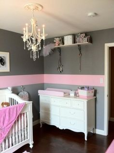 obsessed with the idea of a chandelier in a baby girls room <3 Grey with a single Pink stripe around the room - LOVE!