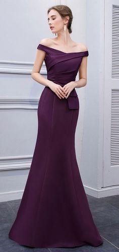 Online Shop BeryLove Simple Mermaid Purple Satin Evening Dresses 2018 Long  Off Shoulder Evening Gowns Formal Evening Dress Prom Dress  e4ac4ede8