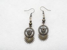 Steampunk  Earrings Gears by SteampunkJewelry1 on Etsy,