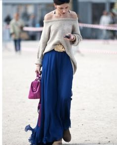 maxi skirt and off the shoulder sweater