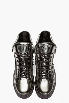 GIUSEPPE ZANOTTI Metallic green studded London sneakers ~ wow!