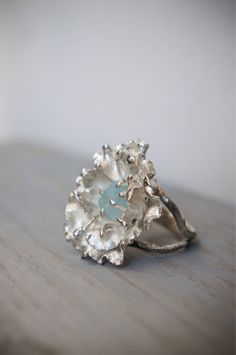 Flower ring with blue topaz raw stone ring rough by TheManerovs