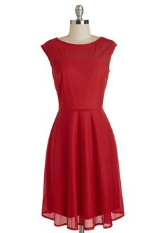 Proceed to Impress Dress. Its a given that this classic red dress will leave a wonderful first impression - but only you could inspire awe with your character. #red #modcloth