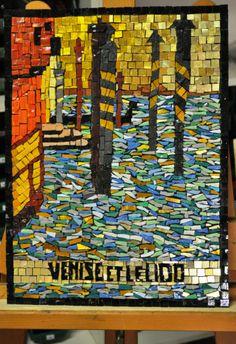 Venise et le Lido.  Italian Smalti.  I made this in Venice at Orsoni.  Artist: Leane Belgrove, Byzantinemosaics.