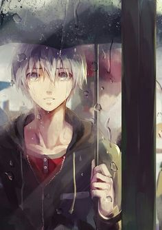 Kaneki Ken, crying, sad, raining, umbrella, reflection, human, white hair; Tokyo Ghoul
