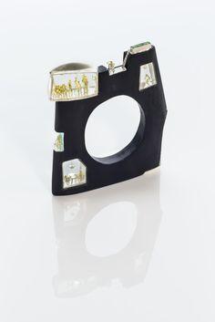 ASAGI MAEDA HOME, SWEET HOME Bracelet. Maple (painted), sterling silver, 18K gold, uvarovite garnet, acrylic