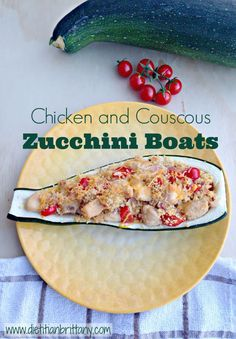 Chicken and Couscous Zucchini Boats #recipe
