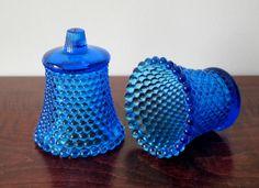 Vintage 1970s Hobnail Blue Glass Peg Votive by CoolAgainVintage, $12.99