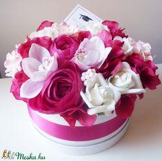 Nagy pink virágdoboz diplomaosztóra (Decoflor) - Meska.hu Pink, Cake, Desserts, Food, Tailgate Desserts, Deserts, Kuchen, Essen, Postres
