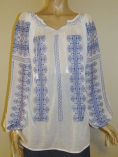 Hand embroidered Romanian blouse, Romanian ethnic top - blue bird comb size L Peasant Blouse, Silk Thread, Long Blouse, Beautiful Hands, Blue Bird, Hand Embroidery, Hand Sewing, Ethnic, Costume