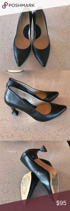 "John Fluevog black leather heels Excellent condition black leather heels with fun heel detail. Made in Portugal. Heel height 3"". John Fluevog Shoes Heels"