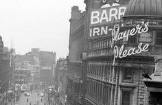 The Barr's Irn Bru sign that could be seen for miles in Glasgow. I can still hear the sound of the birds around early evening as I would be running towards the Central station Glasgow Scotland, Edinburgh, Irn Bru, Down South, Best Cities, Old Photos, Street Photography, Paisley Scotland, Places To Visit