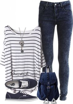 7 cute outfits for school with striped tops - women-outfits.com