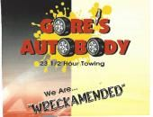"""Gore's Auto Body    Since 1975 Gore's Auto Body, Inc. has been serving the people of Summers County as their complete auto body shop. We do alignment, unibody & frame repair, air conditioning service, radiator recorder, down draft paint booth, bake oven, preferred shop for 3 major insurance companies, computer paint mixing and estimation.  """"We Are wreckamended."""" [Businesses - Automobile > Alignments > Body & Paint > Repair & Service > Towing & Wrecker Service] Hinton, WV"""