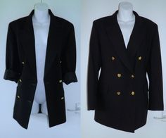 VTG 90s ST MICHAEL Navy Nautical Boyfriend Blazer Jacket Coat 14 42 Ladies M&S £4.48